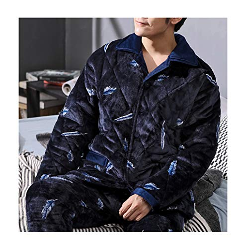 Femaroly Men's Autumn and Winter Pajamas 2 Piece Set Three-Layer Quilted Padded Velvet Flannel Loungewear Nightwear Co17371 -