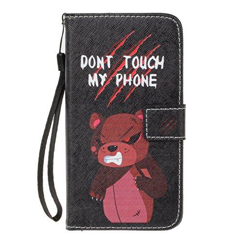 Para iPhone 5 5S 5G / iPhone SE funda, (muchacha del globo) caja del teléfono de la PU patrón en relieve ,Función de Soporte Billetera con Tapa para Tarjetas correa de mano soporte para teléfono enojado del oso