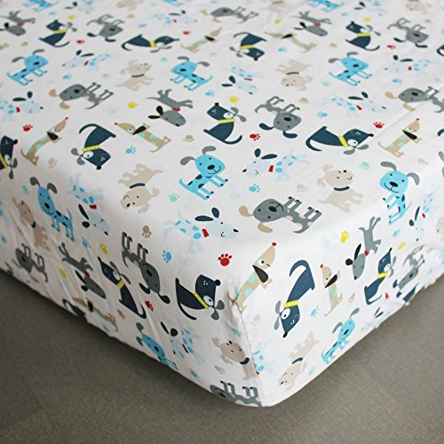 NAUGHTYBOSS Boy Baby Bedding Set Cotton 3D Embroidery Submarine Car Dog Rockets Quilt Bumper Mattress Cover 7 Pieces Set Blue Patchwork by NAUGHTYBOSS (Image #8)
