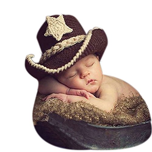 [Fashion Newborn Boy Girl Crochet Knitted Outfits Baby Photography Props Cowboy Hat] (Cowboy Outfit)