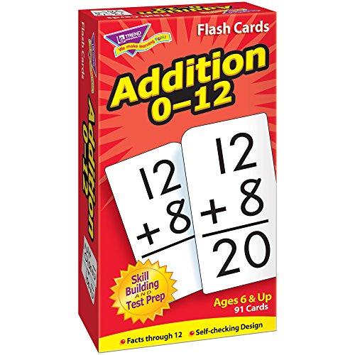 Trend Enterprises Math Flash Cards - Addition 0-12 - Pack of 91 Cards