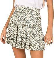 Forthery-Women Floral High Waist Drawstring Ruffle Flared Boho A-Line Pleated Skater Mini Skirt