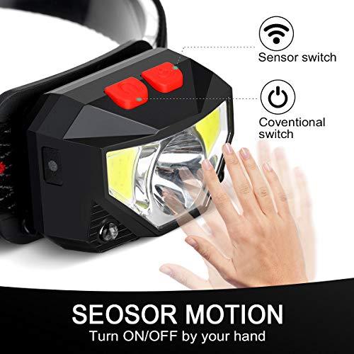 SGODDE 2 Pack Headlamp Flashlight, 1000 Lumens USB Rechargeable Headlamp Ultra Bright LED Headlight Motion Sensor Head Lamp/8 Modes/Waterproof/Built in Batteries for Outdoors, Running, Camping, Hiking