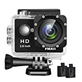 FMAIS Action Camera 2.0 Inch LCD Full HD 1080P Camcorder Underwater 30m/98ft Waterproof Sports Camera with 2 Rechargeable Batteries and Mounting Acces