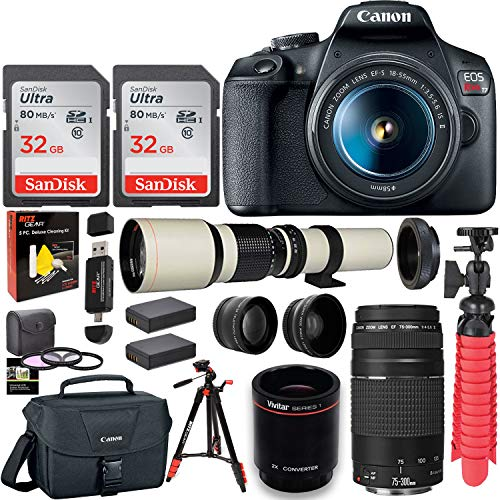 Canon EOS Rebel T7 DSLR Camera Double Zoom Kit (Successor to EOS Rebel T6), EF 75-300mm f/4-5.6, 500mm Preset f/8 Telephoto Lens (White), 0.43x Wide Angle, 2.2X Pro Lenses, Tripod, Lexar 64GB Bundle