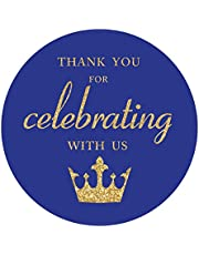 Royal Blue Little Prince Thank You stickers, Gold Glitter Boy Baby Shower or Birthday Party Crown Sticker Labels, 2 Inch Round, 40-Pack