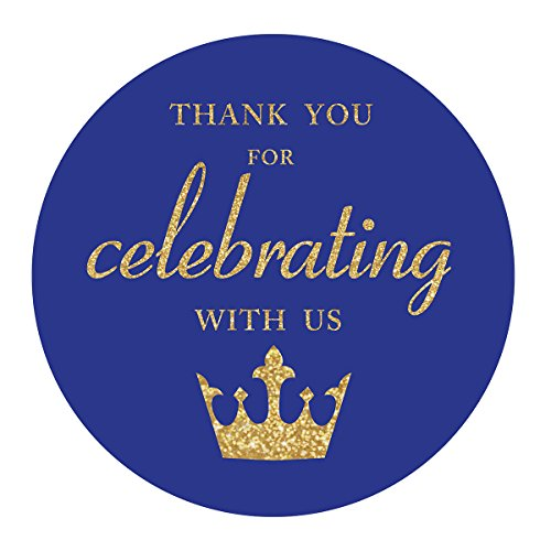 Royal Blue Little Prince Thank You stickers, Gold Glitter Boy Baby Shower or Birthday Party Crown Sticker Labels, 2 Inch Round, 40-Pack]()