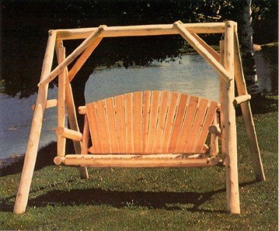 Lakeland Mills CFU28 Cedar Log Outdoor Yard Swing, - Swing Outdoor Wooden