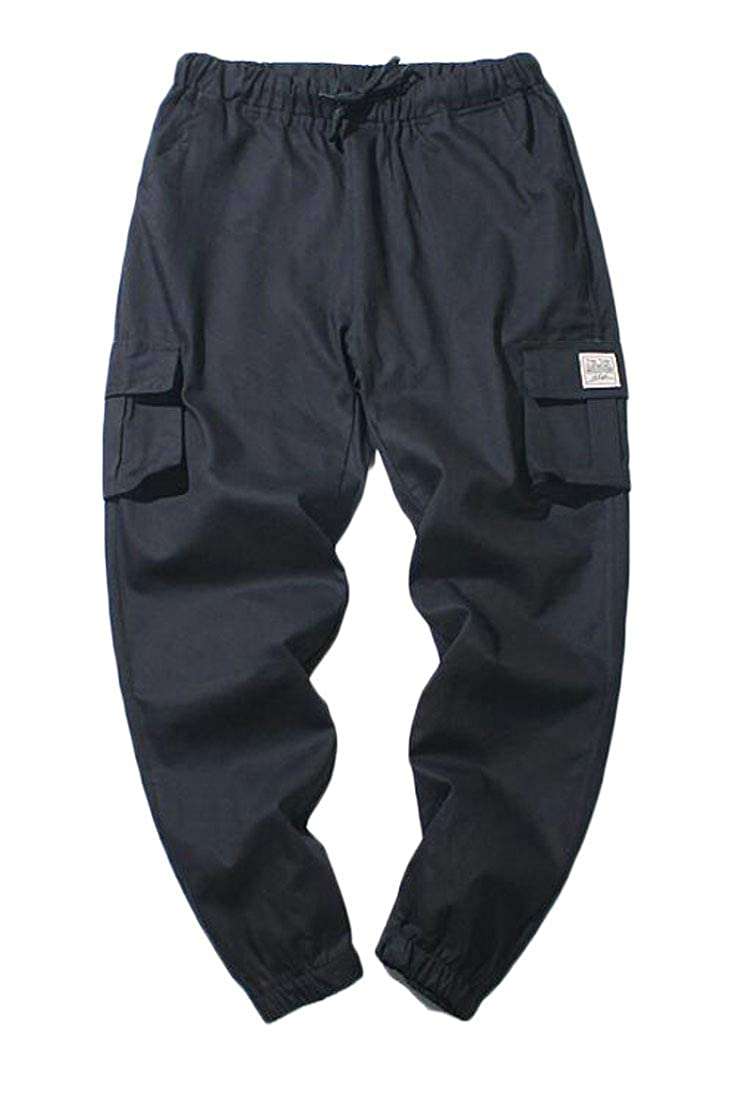 WSPLYSPJY Men Casual Sweatpants Multi Pockets Closed Bottom Outdoor Joggers Cargo Pants