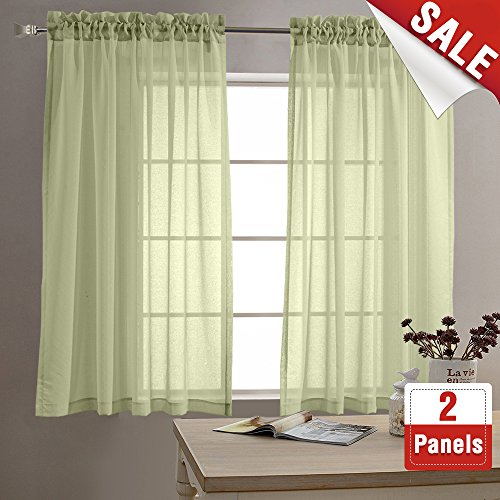 Sheer Curtains for Living Room 63 inch Length Window Curtains for Bedroom Sheers Rod Pocket Voile Curtain Set (1 Pair, Sage) (Green Sheer)