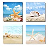 Paimuni Modern Seascape Canvas Prints 4 Panel Seaview Giclee Artwork Starfish Pearl Beach Seashell Wall Art Paintings For Living Room Stretched and Framed Ready to Hang Wall Decor (12X12in)