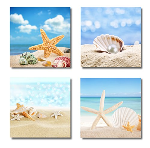 Paimuni Modern Seascape Canvas Prints 4 Panel Seaview Giclee Artwork Starfish Pearl Beach Seashell Wall Art Paintings For Living Room Stretched and Framed Ready to Hang Wall Decor (12X12in) by Paimuni