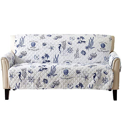 Coastal Reversible Stain Resistant Printed Furniture Protector. Perfect for Pets and Kids. Adjustable Elastic Straps Included. (Sofa, - Loveseat Catalina