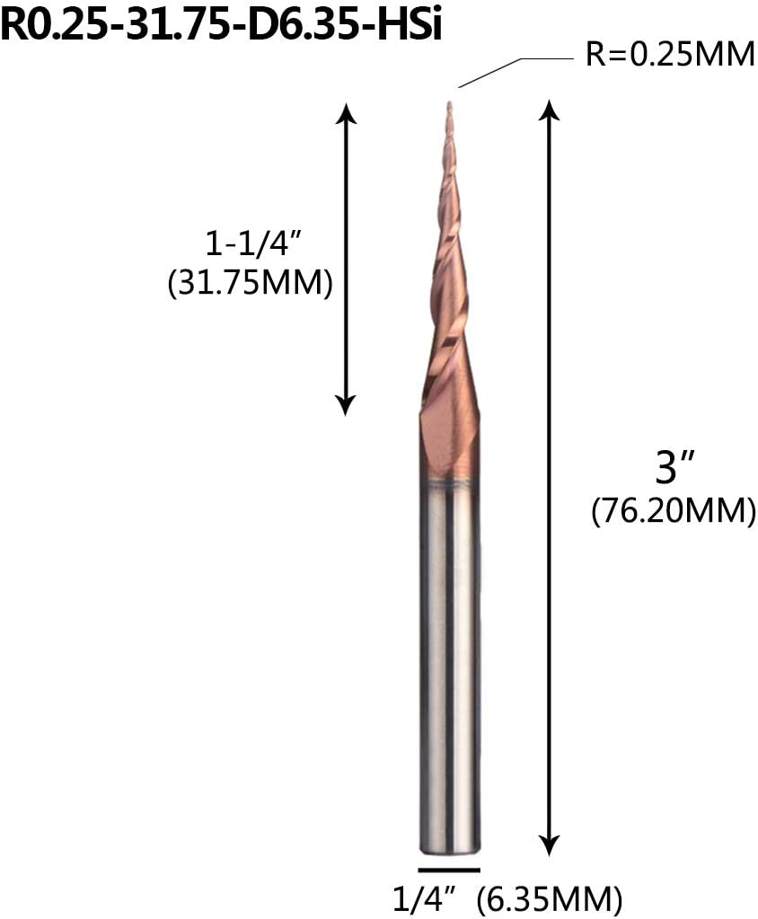 """1-1//4/"""" Length of Cut... Made in USA 10/° Taper Angle per Side 1//4/"""" Tip Diam"""