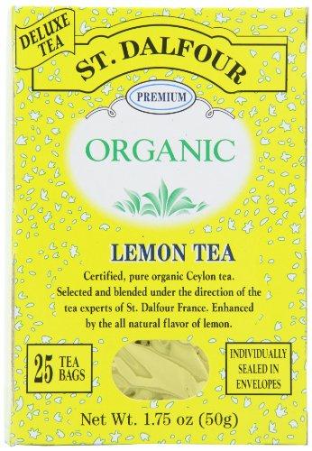 ST. DALFOUR Organic Tea, Lemon, Tea Bags, 25-Count Box (Pack of 6)