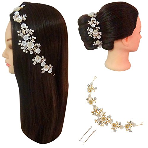 Vogue En Hair Flower - Vogue Hair Accessories Shell Flower with Pearls Metal Hair Jewelry