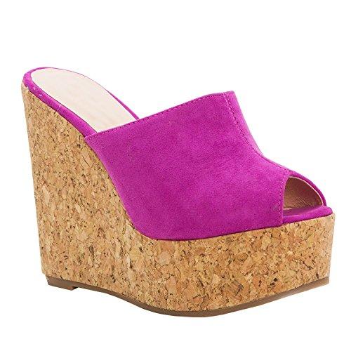 LAICIGO Slides Sandals for Women Slip on Open Toe Wedge Platform Outdoor Cork Casual Poor Summer Shoes