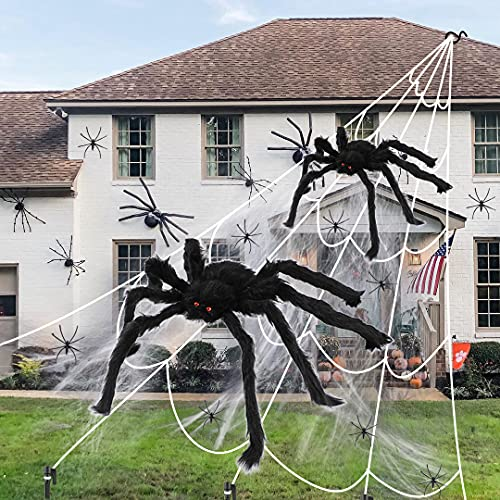 Halloween Fake Spider and Web, 2Pcs Realistic Looking Hairy Spiders with Giant Halloween Spider Web for Halloween Decorations Outdoor Halloween Decor Yard Party Decoration