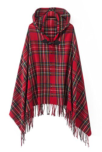 Women's Vintage Plaid Knitted Tassel Poncho Shawl Cape Button Cardigan (One Size, Series 2 - Tartan Stewart Dress