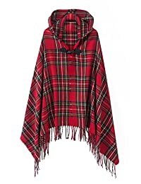 Urban CoCo Women's Vintage Plaid Knitted Tassel Poncho Shawl Cape Button Cardigan (Series 2 Red)