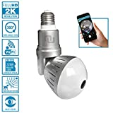 Nucam 380 LED Light Bulb Camera Fisheye APP Controlled Hidden Cam w. 2K 360° Panoramic View, WiFi Connection, Newest H.265 Technology, Motion Detection Based Recording and Night Vision