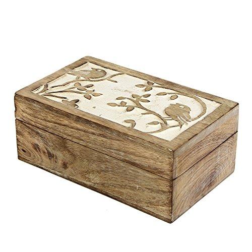 Carved Wood Trinket (Valentine Gifts Ideas Wooden Keepsake Box Jewelry Trinket Storage Organizer Bird Motif  Handmade (5 X 4 X 2.5))