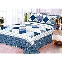 Homemusthaves 3PCS Quilt Set Blue White Multi-Color Modern Design Quilt Bedspread Bed Coverlet (King)