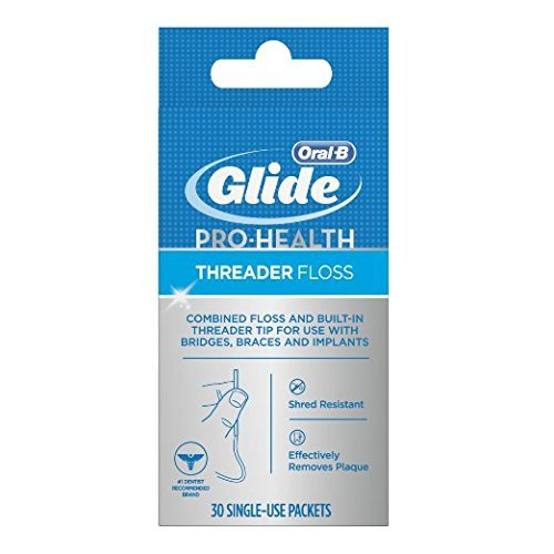 Glide Threader Floss, 30-Count Boxes of Single-Use Packets (Pack of 6) by GLIDE