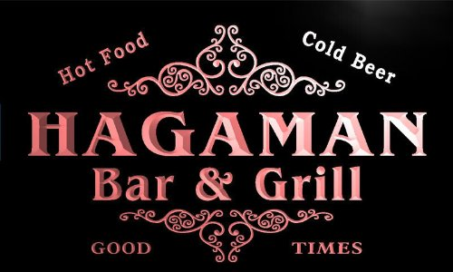 u18390-r HAGAMAN Family Name Gift Bar & Grill Home Beer Neon Light Sign