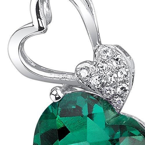 Revoni 14ct or blanc 585/1000 en forme de coeur 2.48 carats créer émeraude Pendentif diamant