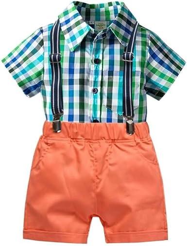 Conjunto de Trajes de Dos Piezas para Niños, Camisa de Manga Corta a Cuadros + Shorts de Tirantes, 2-6 Años #247: Amazon.es: Ropa y accesorios