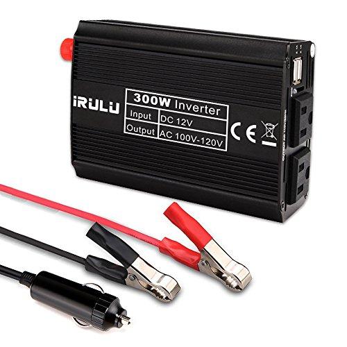 iRULU 300W Microprocessor Power Inverter DC 12V to 110V AC Car Inverter with 4.2A Dual USB Car Adapter -Black