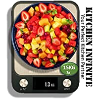 SCALES KITCHEN DIGITAL PRO | Authentic from KITCHEN INFINITE | Black Stainless Steel Electronic Weighing | Grams…