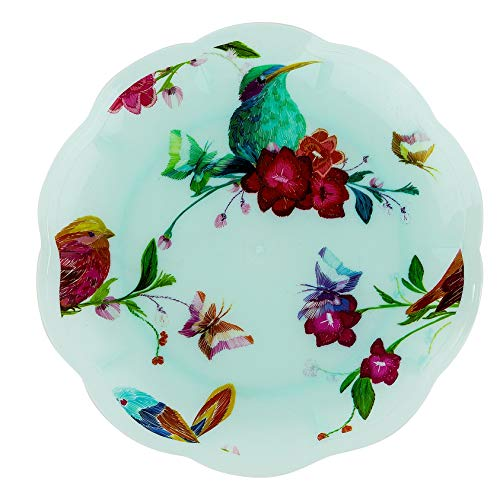 Vintage Disposable Plastic Party Plates - Bird and Flower Design - Real China Look, Hard & Reusable (12 Piece Pack - 9 Inch Round)