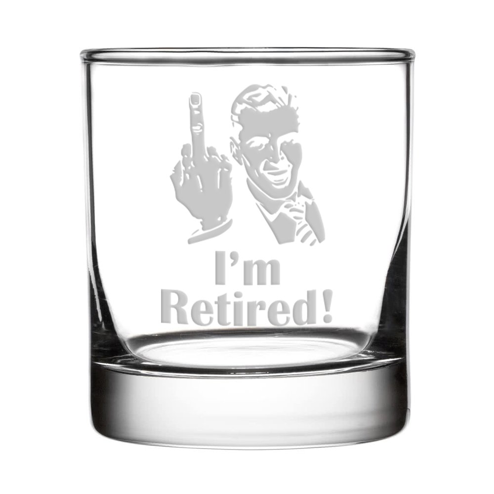Crass Glass I'm Retired! Double Old Fashioned/Whiskey Glass (Man) 2524-CG-Ret