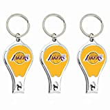 la clipper bottle opener - Worthy Promotional NBA Los Angeles Lakers Nail Clipper with Bottle Opener, Silver, Set of 3