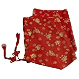 China Furniture Online Silk Table Runner 96 Inch Red Floral Longevity Motif