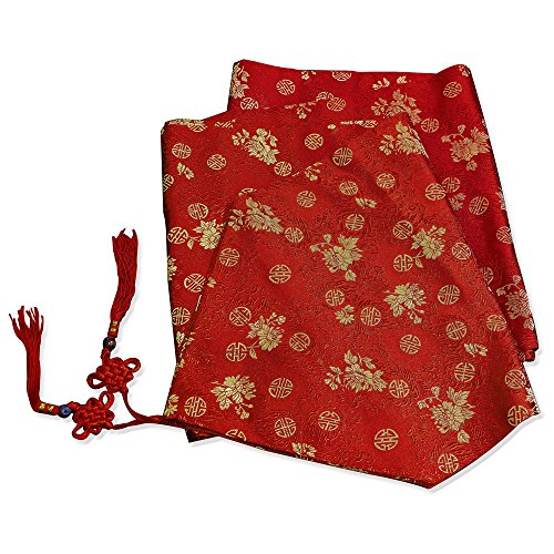 China Furniture Online Silk Table Runner 96 Inch Red Floral Longevity Motif by ChinaFurnitureOnline