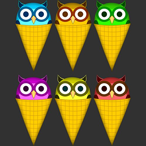 Ice cream cone owls Men's Large Charcoal Graphic T Shirt - Design By Humans
