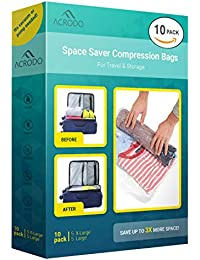 Space Saver Travel Bags for Clothes - 10-pack for Compression Packing Organizer & Storage - No Vacuum Rolling Bag for Clothing