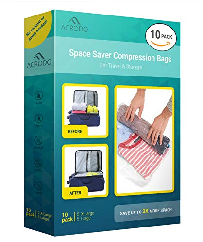 Acrodo Space Saver Travel Bags for Clothes - 10-pack for Compression Packing Organizer & Storage - No Vacuum Rolling Bag for Clothing