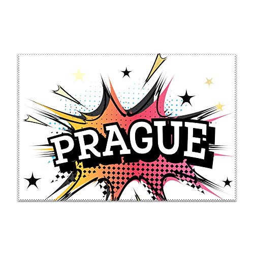 LUNNC Placemats Set of 6 Heat-Resistant Prague Comic Placemat for Dining Table Stain Resistant Table Mats Easy to Clean -