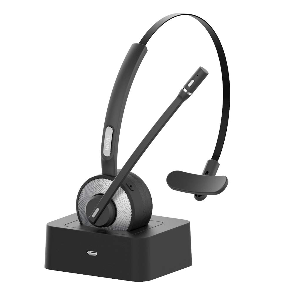 Trucker Bluetooth Headset,Willful Wireless Headset with Microphone,Charging Station,Noise Cancelling Clear Sound,Mute Button,Phone Headset for Car Truck Driver Call Center Office by Willful