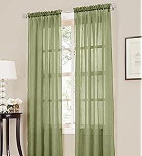 Green Curtains amazon green curtains : Amazon.com: 2 Piece Solid Sage Green Sheer Window Curtains/drape ...