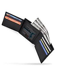 Carteras para Hombre Billetera Caballero Delgado RFID Wallet Cuero genuino Cartera de Tarjeta de Crédito