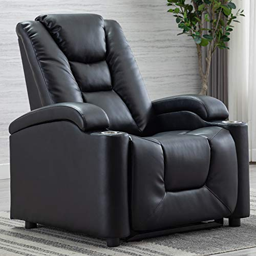 CANMOV Electric Power Recliner Chair with Cup Holders and USB Ports, Breathable Bonded Leather Home Theater Seating with Adjustable Headrest, Black