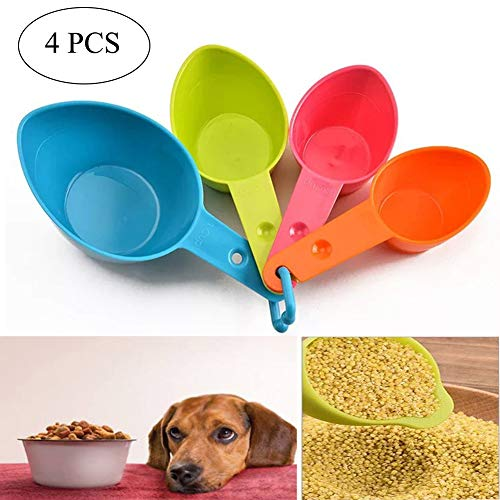 Orgrimmar Set of Four Pet Food Scoop, Measuring Cups, Plastic Pet Food Scoop for Dog, Cat and Bird Food