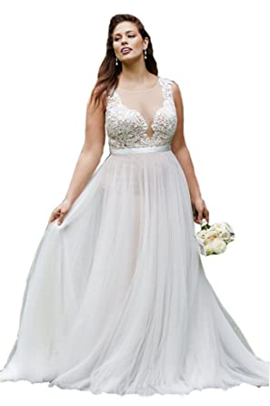 Cloverdresses Womens Gorgeous Plus Size Wedding Dresses Tulle Appliques Formal Prom Dress Ivory 2