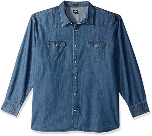 Dickies Men's Long Sleeve Relaxed fit Western Denim Shirt Big, Stonewashed Indigo Blue, 3X (Dickies Denim Jacket Mens)