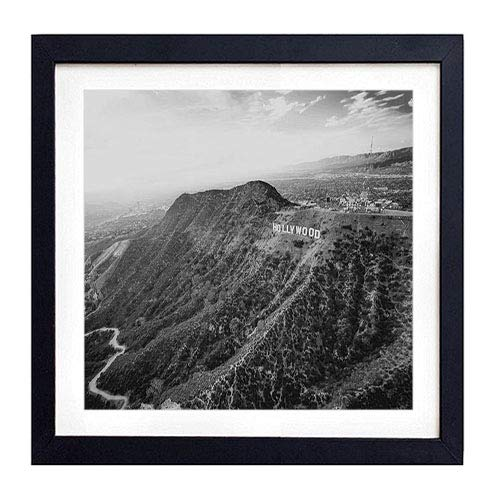 Los Angeles Framed Picture - GLITZFAS PRINTS Framed Wall Art- Hollywood Mountains Los Angeles- Art Print Black Wood Framed Wall Art Picture for Home Decoration - Black and White 16